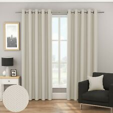 Bondi Woven Textured Chevron Blockout/Thermal FullyLined Eyelet Curtains Natural