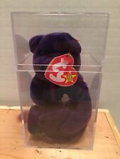 Princess Diana Collectible Retired TY Beanie Baby Purple Bear, in Case, w/Tag