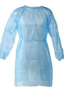 10 Disposable Isolation BLUE Gowns - Elastic Cuffs Universal Size  - FAST SHIP