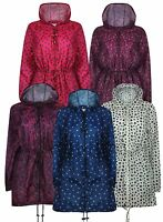Ladies Printed Hooded Water repellent kagoul Long Jacket Raincoat Size S to 5XL