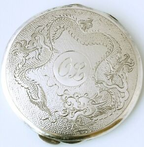 Sterling Silver Chinese Dragon Powder Compact Pocket Mirror. Lee Yee Hing c1930