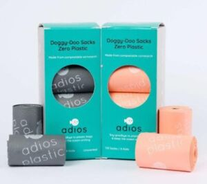 Adios Biodegradable Dog Poo Bags -100% Plastic Free, Compostable - 120 Pack