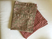 Country Curtains 2 Pillow Shams Paisley Plaid Buttons Green Red