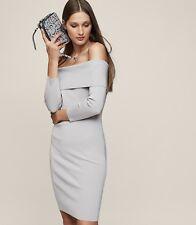 14229dfca49b1 Reiss MADELINE Off-The-Shoulder Knitted DRESS UK12 87% Viscose silver