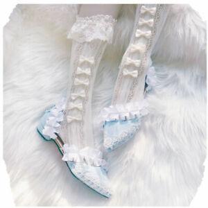 Japanese Lolita Fashion White Lace Calf Socks Anime Style Jpop Kpop Stockings