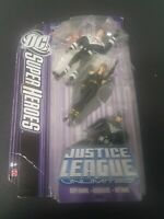"DC Justice League Unlimited 4"" figure 3 pack Superman Hawkgirl Batman"