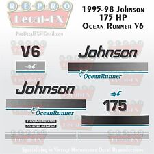 1995-98 Johnson 175 HP OR Decals V6 Ocean Runner Reproduction 21 Pieces Vinyl