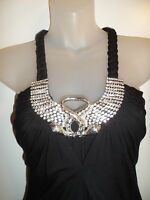 Sky Clothing Brand XS Dress Rhinestone Crystal Snake Black Braided Cocktail Club