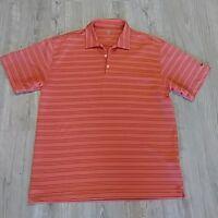 NIKE GOLF Dri-Fit Men's L Large Dry Polo Shirt Orange Stripe