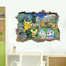 3D Pokemon Picachu Pichu Break Wall Sticker Decal Kids Art Removable Mural Decor