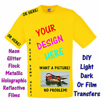 Personalised Iron on transfer or garment film your own design or photo T shirt
