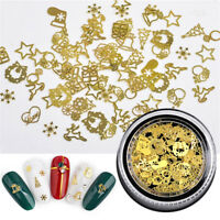 Gold Metal Hollow Studs Nail Rivets Xmas Snowflake Manicure 3D Nail Art Decor