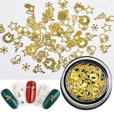 Gold Metal Hollow Studs Nail Rivets Xmas Snowflake Manicure 3D Nail Art Decor //