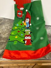 """New Stacked Penguins Pyramid Star Snowflake 48"""" Christmas Tree Skirt Red Green"""