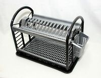 Plastic Dish Drainer Round Design 2Tier Rack Utensil Cutlery Draining Grey Black