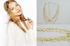 Boho Gold Wedding Headdress Headband Head Band Crown Chain Tassels Headpiece