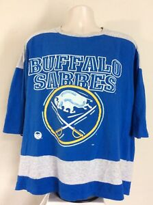 Vtg 80s Early 90s Buffalo Sabres Jersey Style T-Shirt Blue L NHL Artex