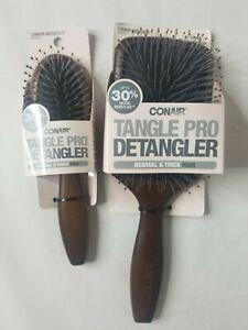 Conair Tangle Pro Detangler Wood Paddle Hair Brush + Bonus Travel Brush NEW