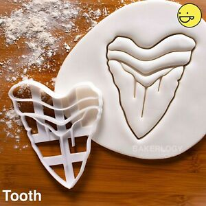 Megalodon Tooth cookie cutter | extinct shark attack beach birthday party surf