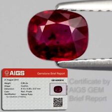 AIGS Rare! Certified 0.96ct 6x5mm Cushion Natural Unheated Untreated Red Ruby