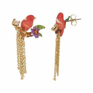 LES NEREIDES 14ct Gold Plated Bird Drop Earrings, rrp: £100