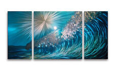 48'' x 24'' Ocean Wave Metal Wall Art Colored Sculpture Painting Home Decor