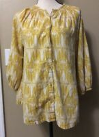 H&M Sz 8 Mustard Yellow Retro Print Peasant Blouse Smock Boho Top