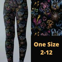 Mickey Minnie Mouse Fireworks Women's Leggings OS One Size 2-12