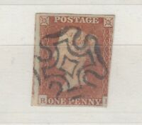 GB QV 1841 1d Red Imperf Maltese Cross VFU J9871
