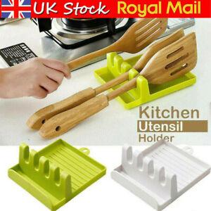 Kitchen Heat Resistant Spoon Rest Cooking Utensil Spatula Holder Plastic Decor