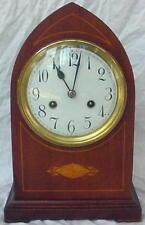 German Beehive 1/4 Hour Striking Mantle Clock w/ Satin Wood Inlay. c. 1900