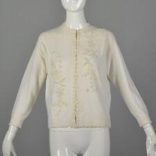 L 1950s Ivory Cardigan Pear Beaded Wedding Bridal Honeymoon Wool Sweater 50s Vtg