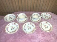 2 CUPS 7 SAUCERS SYRACUSE CHINA Old Ivory BOMBAY OPCO USA 22k Gold Trim