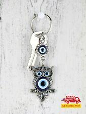 Turkish Blue Evil Eye Owl Design Key Chain Bag Charm Lucky Eye Quality Keyrings