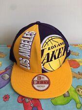 Los Angeles Lakers Purple Yellow New Era Flat Cap Size M L Basketball VGC 9Fifty