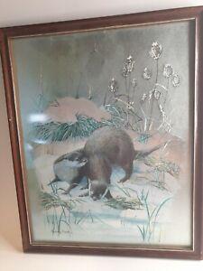 Vintage Audrey North Foil Art Reflective Etching Iridescent Otter Snow Animal