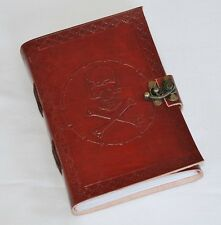 Handmade Skull and Crossbones Pirate Leather Blank Journal Diary Notebook (590)