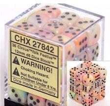 Chessex Dice (36) Block Sets 12mm D6 Festive Circus / Black 36 Die Set CHX 27842