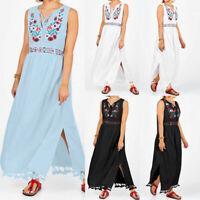 Women Sleeveless Bohemia Floral Long Maxi Dress Summer Beach Party Sundress Plus