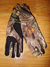 NWT UNDER ARMOUR MOSSY OAK INFINITY CAMOUFLAGE CAMO GLOVES GRIP COLD GEAR LARGE
