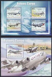 Zentralafrika  3847 - 3850 KB + Block 984 (3851) **, Frachtflugzeuge (30 ME)