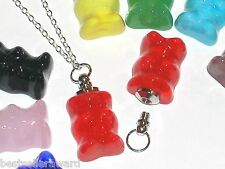 1pc Miniature small Glass Gummi Bear BOTTLE gummy perfume vial necklace pendant