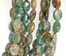 CHRYSOCOLLA GEMSTONE GREEN BLUE FLAT OVAL 18X13MM LOOSE BEADS 15.5""