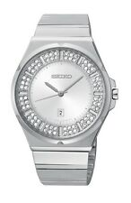 NEW SEIKO SXDF71 Stainless Steel Swarovski Crystal Elements Ladies Watch
