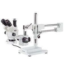 Amscope 7x 45x Simul Focal Stereo Zoom Microscope Dual Boom Fluorescent Light