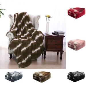 Plush Soft Warm Reversible Shaggy Faux Fur Fleece Fuzzy Striped Bed Sofa Blanket