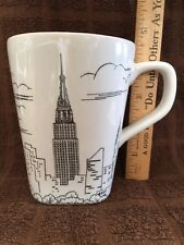 222 FIFTH CITY SCENES Latte Coffee Mug Cup Empire State Building Black On White