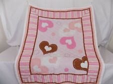 New Handmade Baby Quilt Pink White Brown Hearts