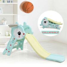 3In1 Kids Fun Slide Set Folding Playground Slide W/ Ladder Basketball Hoop Slide