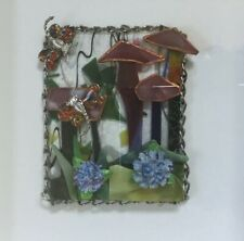 Mixed Media Glass Collage Art Mushrooms Flowers Dragonfly Framed OOAK Signed JLF